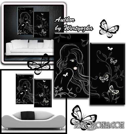 Girl and butterfly - Modular painting diptych format psd
