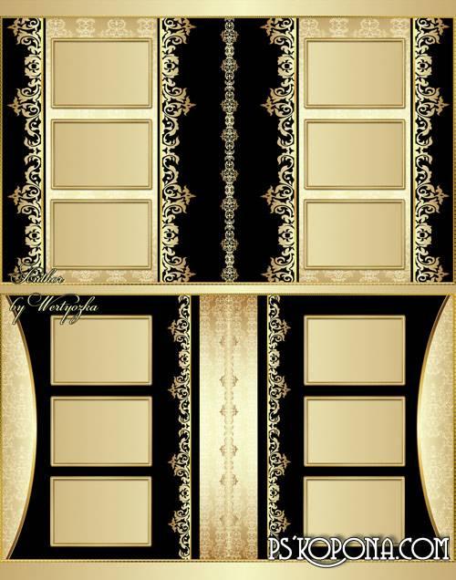 Universal photobook template psd - Golden vintage ornaments