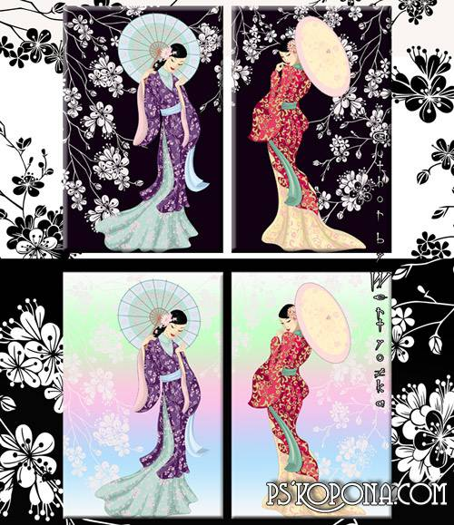 Geisha - the standard of femininity, beauty and wisdom - Diptych in psd format