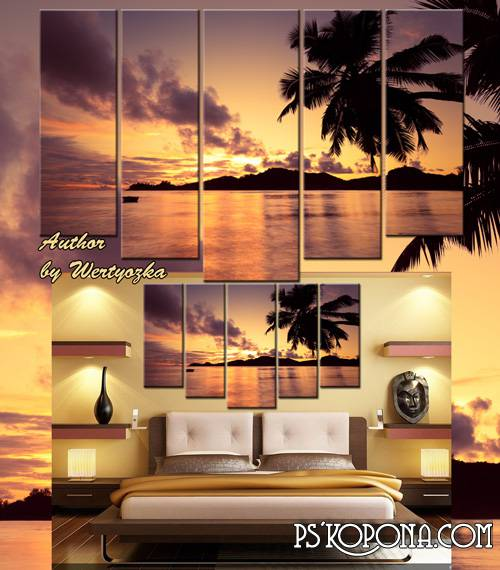 Landscape, sea sunset, island, palm - Polyptych in psd format