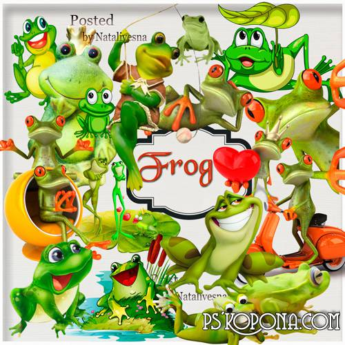 Clipart in PNG - Green frogs