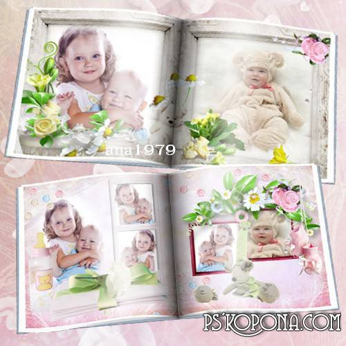Photo book template psd for girls - Girl ours! You look from the picture