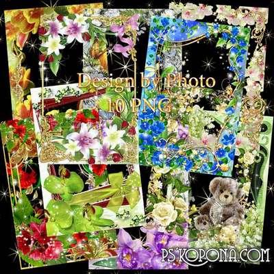 Set of flower framework for photo - Temptation