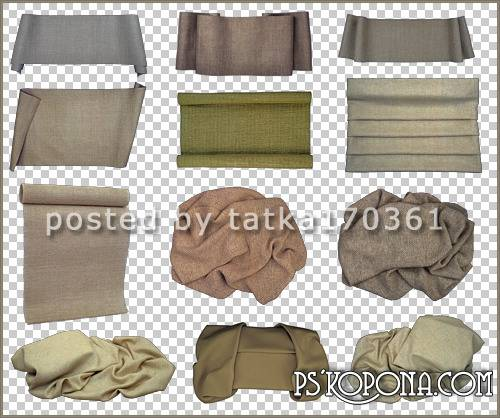 Beige fabrics with large folds on transparent background, 15 PNG