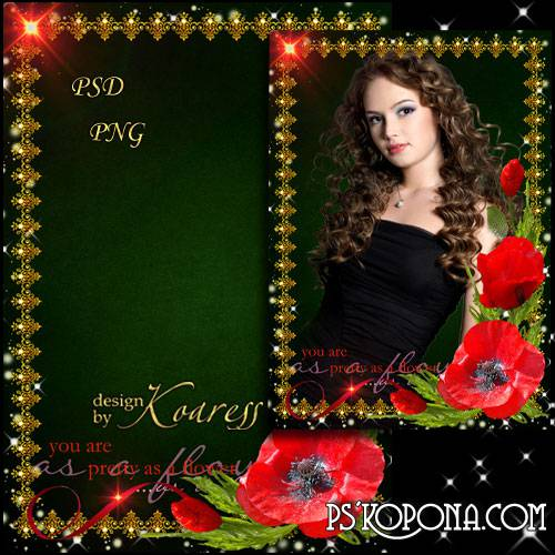 Frame for Photoshop - Red poppies