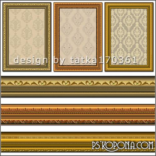 Free Baguette Photoshop frame psd + png with golden elements