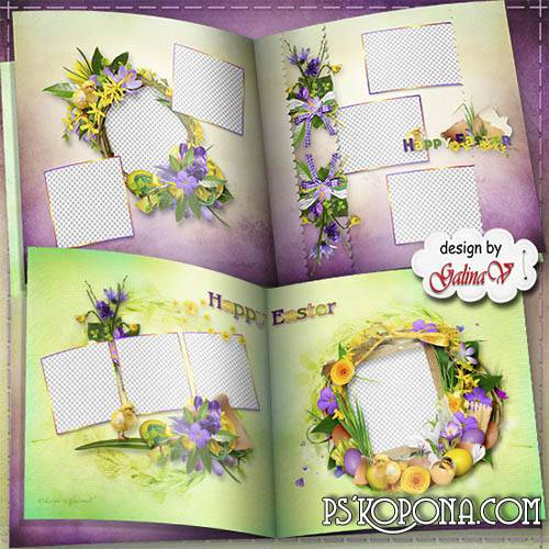 Spring Photobook template psd for Family - Easter Holiday