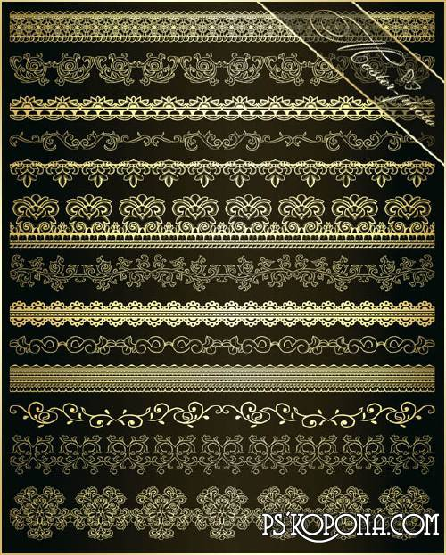Multi-layer PSD source for Photoshop - Gold openwork