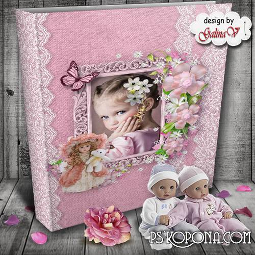Photobook template psd for Little Girls - My Favourite Dolls