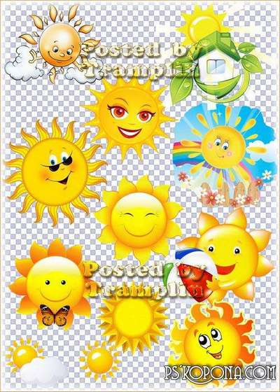 Clipart  on a transparent background - Sun