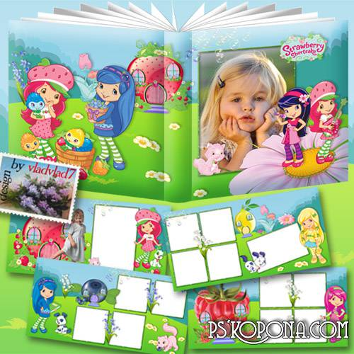 Photobook template psd for girls - Strawberry Shortcake and other