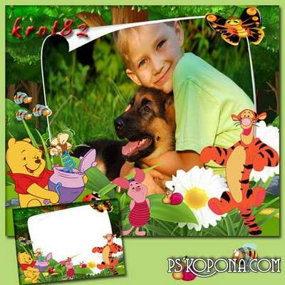Children summer frame - adventures of Winnie the Pooh and Piglet