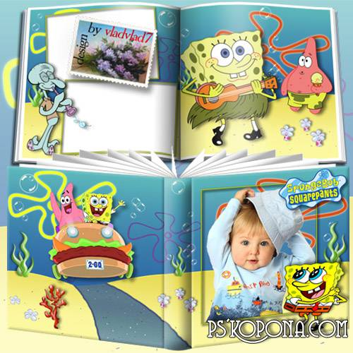 Cartoon Photobook template psd for Kids - SpongeBob SquarePants
