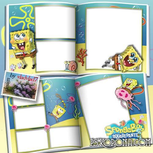 Cartoon Photobook template psd for Kids - SpongeBob SquarePants
