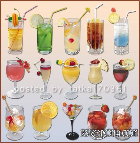 Clipart for Photoshop - Soft drinks and cocktails