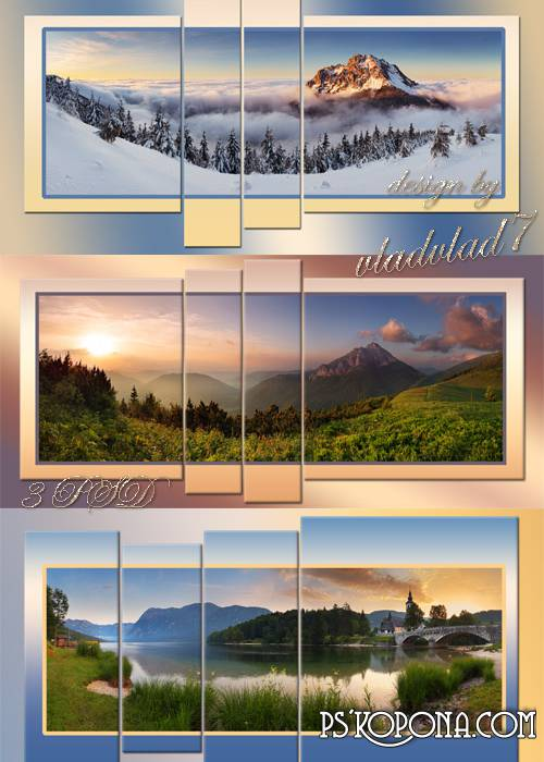 Mountain panorama at sunrise - Polyptych in psd format
