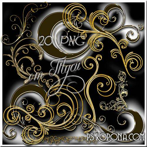 Design elements free download - Curls - Black Gold