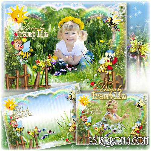 Childrens summer frame – Bees on a forest path