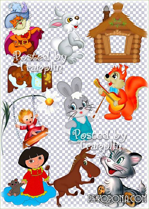 The childrens clipart on a transparent background – Heroes of animated films