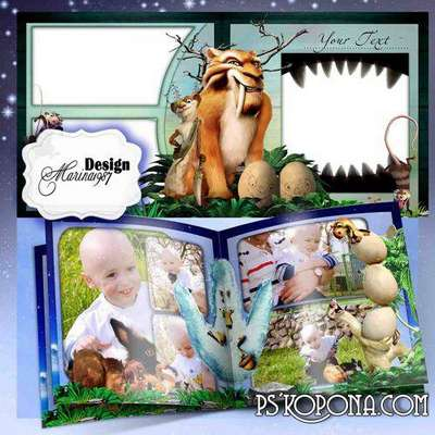 Photobook template psd - Ice Age - Dawn of the Dinosaurs