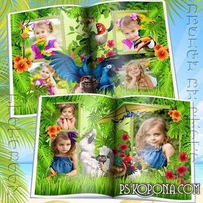 Baby photo book template psd with cartoon characters Rio