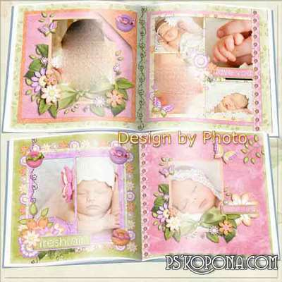 Photo book template psd for the newborn girl - Girl