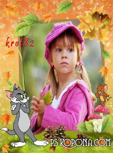 autumn frame for children free download tom jerry and falling leaves - Children Images Free Download