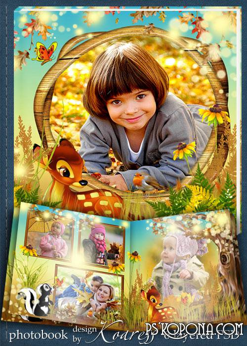 Children photobook template psd - Bambi in the autumn forest