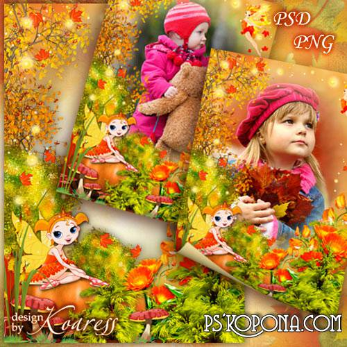 Children frame with fairies - Golden autumn, fairy autumn