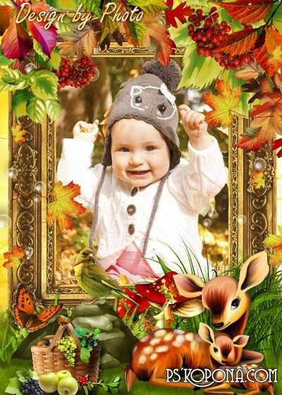 Children autumn photo frame - Bambi