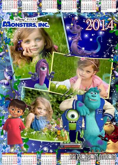 Children's calendar for the year 2014 - monsters Inc