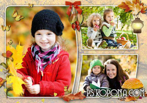 Pattern of autumn photo book template psd - Autumn gold leaves