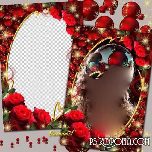 Frame - Glamour Rose and Christmas balls