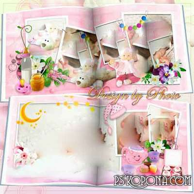 Baby photobook template psd - Daughter-a small flower