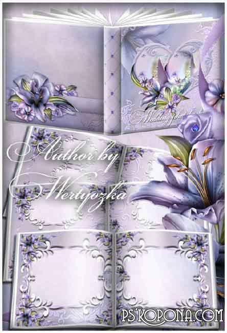 Wedding flower photo book template psd - Purple Lilies