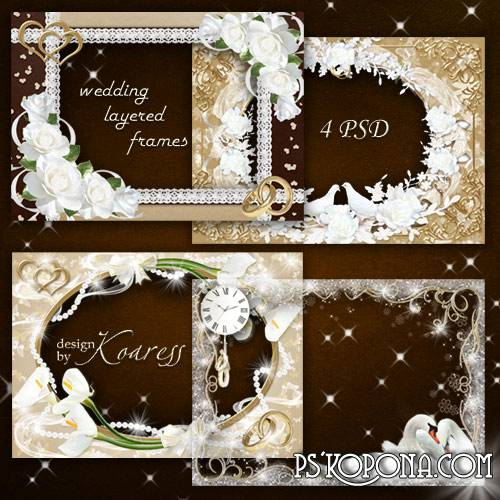Set of wedding frames - The constellation of Love