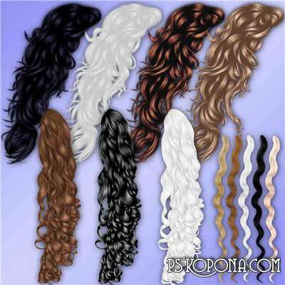 Clipart for Photoshop - wavy locks of hair