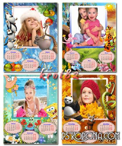 Template children's calendar with heroes of cartoon films in 2014, Penguins, Winnie the Pooh, spongebob and Panda