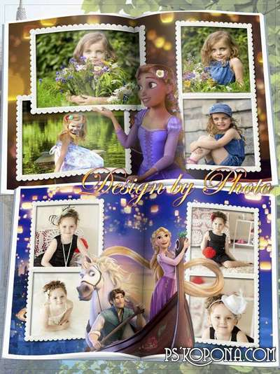 Baby photo book template psd with cartoon characters Rapunzel