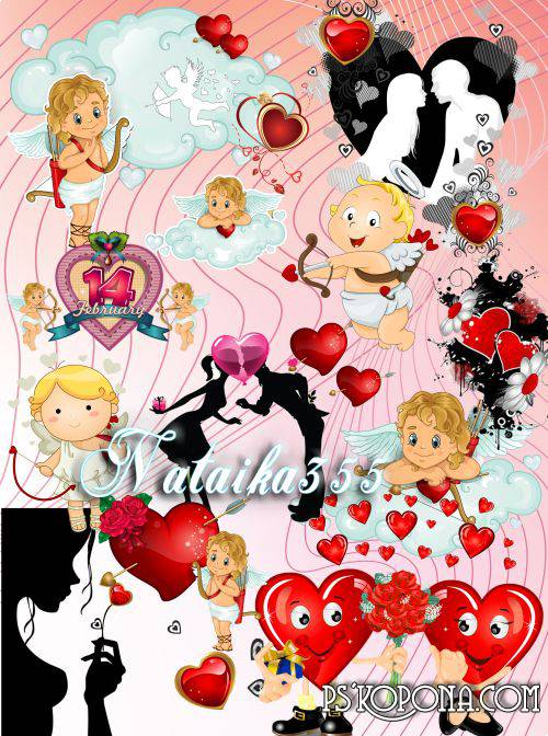 Scrap set - Angels and flowers PNG