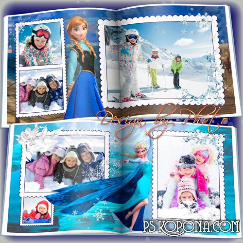 Baby photobook template psd with the heroes of the m/f Cold heart