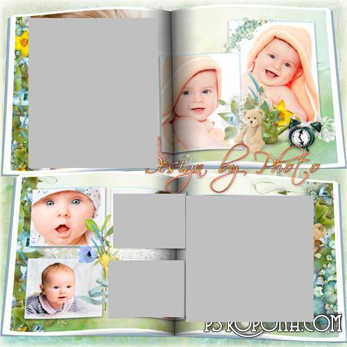 Baby photobook psd template-lying On his tummy,all sides look