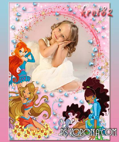 Frame for girls with heroes of the cartoon Winx - My baby