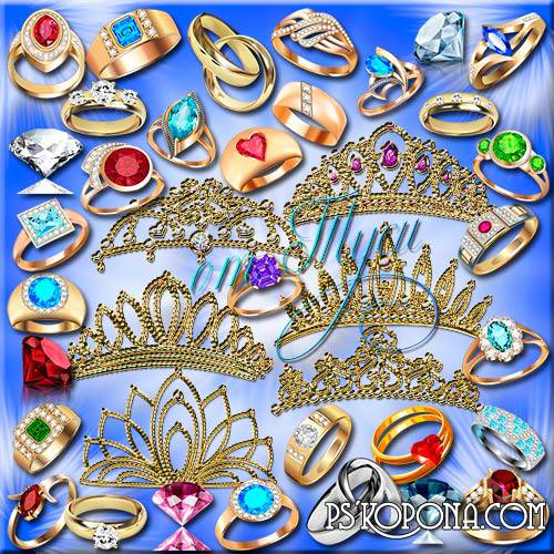 Clipart - Tiaras and rings