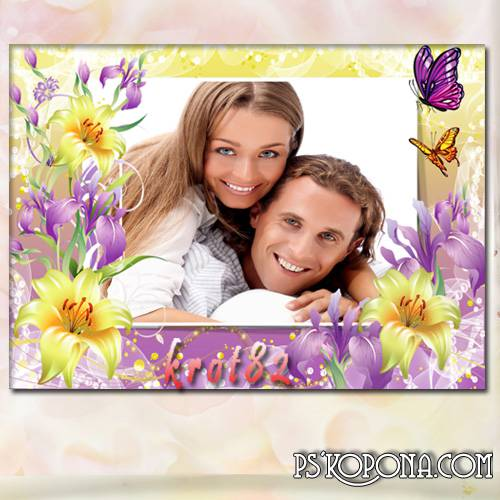 Frame for photo with flowers - Spring mood