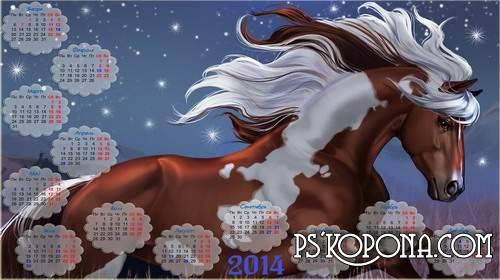 Widescreen calendar with horse in 2014 - Spring has come