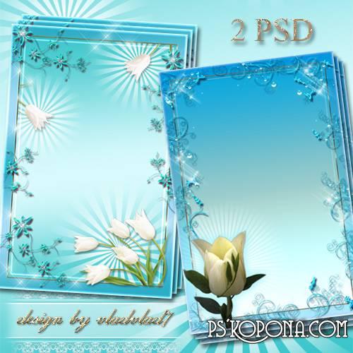 Flower frames for Photoshop - White tulips, blue swirl