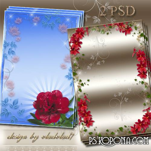 Flower frames for Photoshop - Peony and red orchids