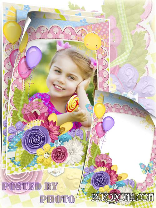 Free Children scrap frame psd - Good mood