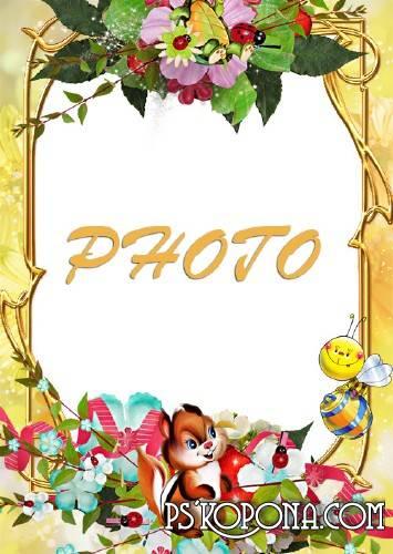 Children Photo Frame - Spring in the yard